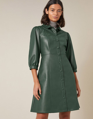 Monsoon Leather-Look Puff Sleeve Dress Green