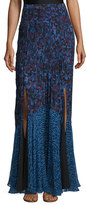 Rebecca Taylor Bouquet Rhapsody Silk-Blend Maxi Skirt, Blue