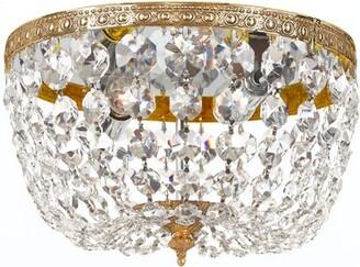 House of Hampton Milan 2 - Light 10'' Chandelier Style Bowl LED Flush Mount Crystal Grade: Majestic Wood Polished, Finish: Olde Brass
