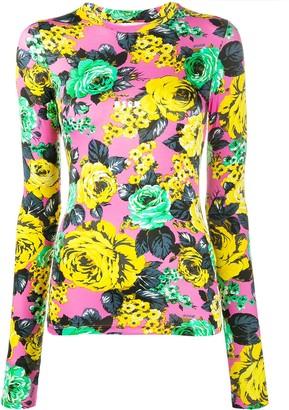 MSGM Rose-Print Long-Sleeved Top