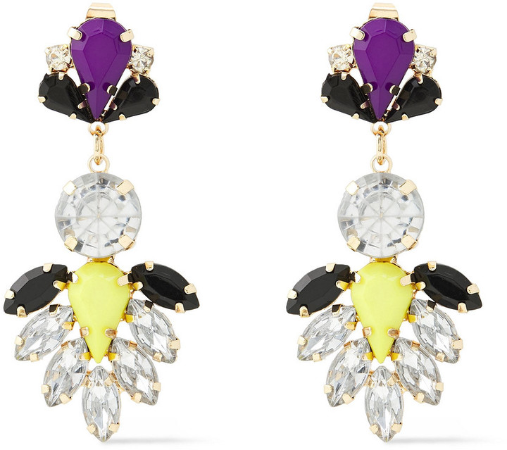 Kenneth Jay Lane Gold-tone Crystal And Stone Earrings
