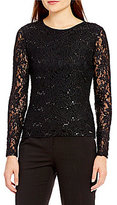 Calvin Klein Petites Sequined Lace Long Sleeve Knit Top