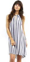 West Coast Wardrobe Junebug Stripe Dress with Button in Ivory/Navy
