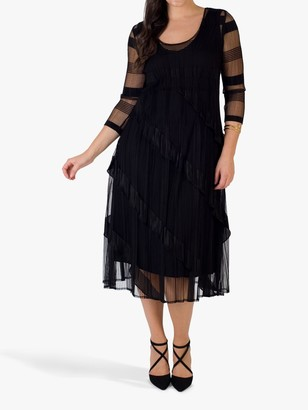 Chesca Frill Pleat Midi Dress, Black