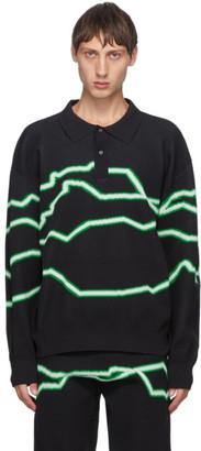 Xander Zhou Black Knit Stripes Polo