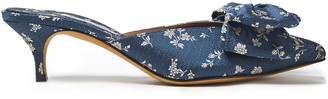Tabitha Simmons Edyth Bow-embellished Silk-jacquard Mules