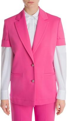 Sara Battaglia Short-Sleeve Tailored Jacket