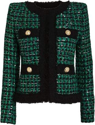 Balmain Sequin-Embellished Tweed Jacket