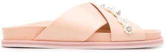 Simone Rocha Embellished Cross-Strap Slides
