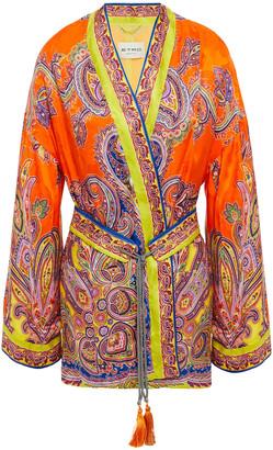 Etro Lace-up Printed Satin-jacquard Kimono