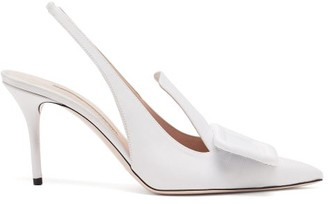 Emilia Wickstead Buckle Grosgrain And Leather Slingback Pumps - White