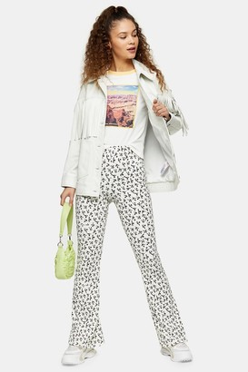 Topshop Womens Cream Floral Print Flare Trousers - Monochrome