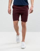 Asos Skinny Jersey Shorts In Burgundy