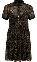 River Island Womens Green floral print shirt dress