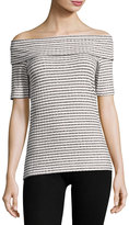 Neiman Marcus Marilyn Striped Ribbed Top, Black/White