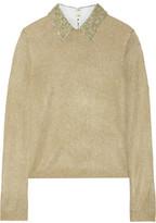 Alice + Olivia Dia Embellished Metallic Knitted Sweater