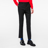 Paul Smith Men's Slim-Fit Black Textured-Check Wool-Blend Trousers