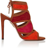 Aquazzura Women's Vika Suede Sandals-RED, ORANGE, BROWN, FUSCHIA