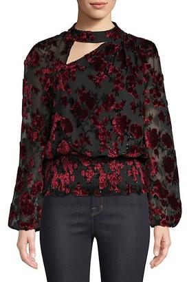 Parker Gavin Shirred Velvet Floral Blouse