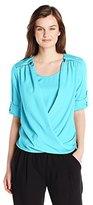 Calvin Klein Women's V-Neck Drape Roll Sleeve