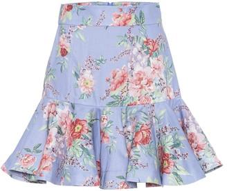 Zimmermann Bellitude floral linen miniskirt