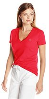 Lacoste Women's Short Sleeve Cotton Jersey V Neck Tee Shirt