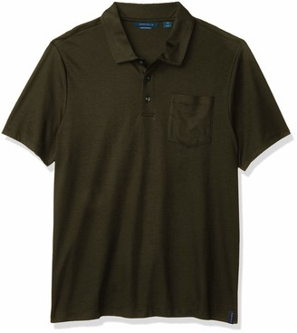 Perry Ellis Men's Solid Short Sleeve Polo Shirt with Pocket