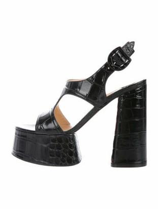 Christian Louboutin Foolish 130 Leather T-Strap Sandals Black