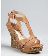 Belle by Sigerson Morrison brown leather 'Braiden 2' woven wedges
