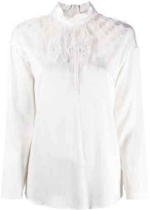 Fabiana Filippi Long-Sleeved Feather Blouse