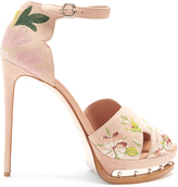 Alexander McQueen Floral-embroidered suede platform sandals