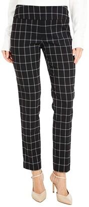 Elliott Lauren Square Root Pull-On Pants with Back Slit Detail (Black/White) Women's Casual Pants