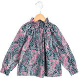 Bonpoint Girls' Paisley Print Ruffle-Trimmed Top