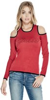 GUESS Holly Cold-Shoulder Logo Sweater
