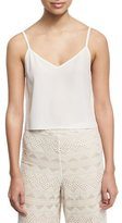 Alice + Olivia Lauren V-Neck Silk Tank, White