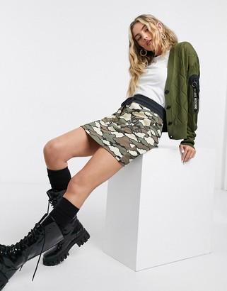 Love Moschino cloud camo print mini skirt in green