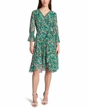 Tahari ASL Floral-Print Faux-Wrap Dress