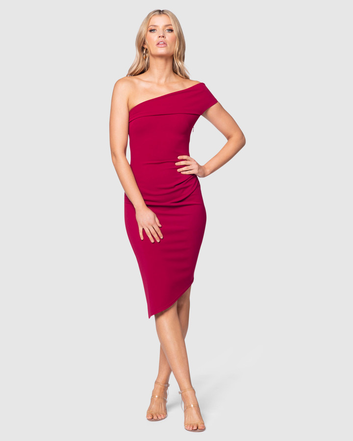 Pilgrim Women's Red Off the Shoulder Dresses - Nari Midi Dress - Size One Size, 6 at The Iconic
