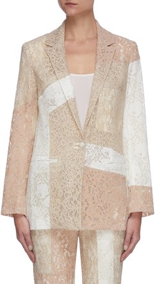 Koché Lace patchwork single breasted blazer