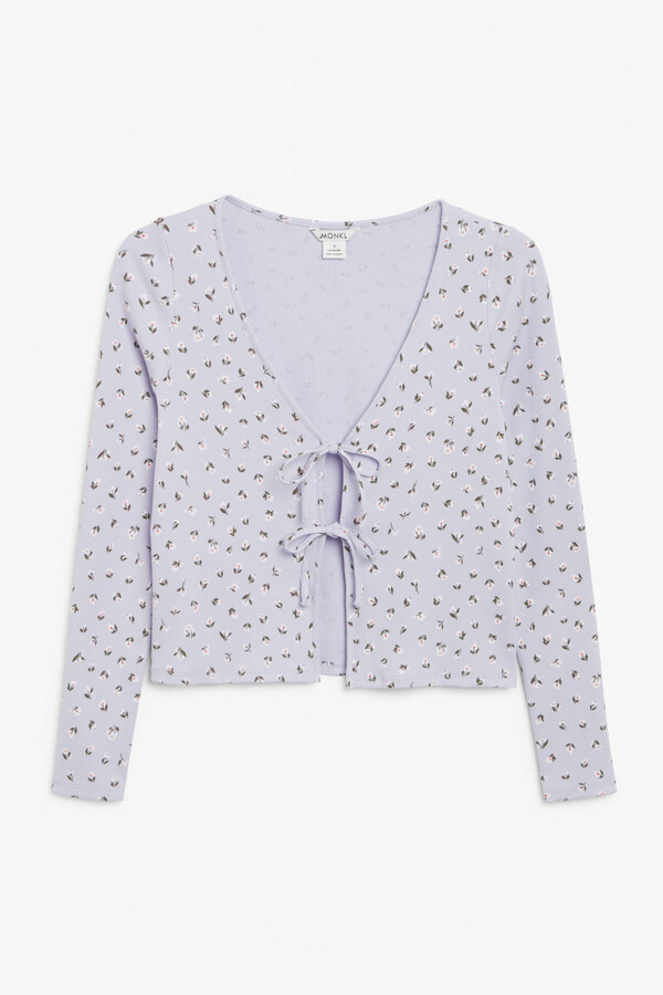 Thumbnail for your product : Monki Tie-front ribbed cardigan