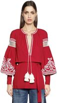 Wandering Embroidered Cotton Tunic Top