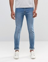 Cheap Monday Jeans Tight Stretch Skinny Fit Blue Wave Light Vintage Wash