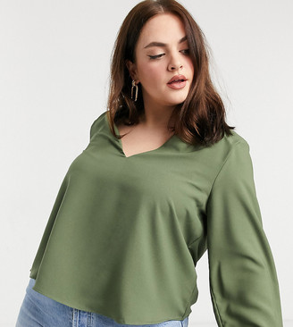 ASOS DESIGN Curve long sleeve top with v-neck detail in khaki
