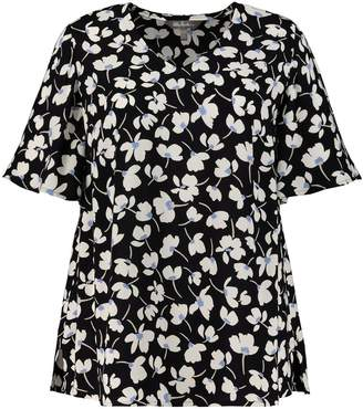 Ulla Popken Floral Print V-Neck Blouse with Short Sleeves