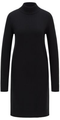 HUGO BOSS Rollneck sweater dress in cotton and virgin wool