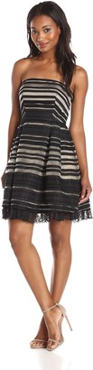 Minuet Women's Organza Stripe Dress with Lace Hem