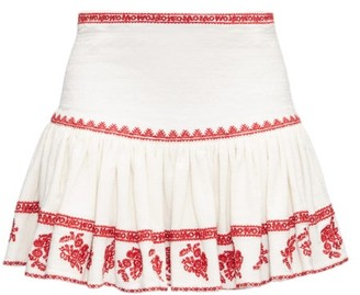 Etoile Isabel Marant Russel Embroidered Cotton Mini Skirt - Red White