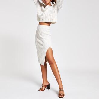 River Island Womens Cream cable knit midi skirt