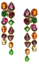 Tresor Collection - 18K Yellow Gold Earring with Multicolor Tourmaline, Tsavorite Garnet, Mandrian Garnet and Diamond