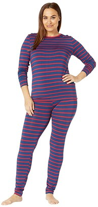 Kickee Pants Plus Size Long Sleeve Fitted Pajama Set (Everyday Heroes Navy Stripe) Women's Pajama Sets